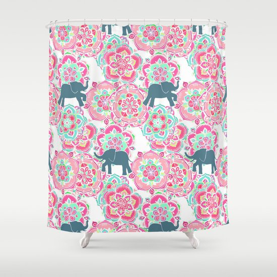 Tiny Elephants in Fields of Flowers Shower Curtain