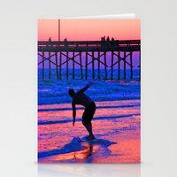 Neon Skimboarder Stationery Cards