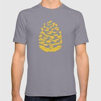 Pinecone Mustard Yellow Mens Fitted Tee Slate SMALL