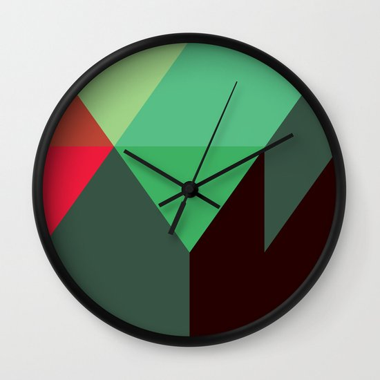 Green & Red Triangles Wall Clock