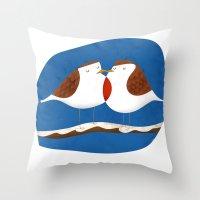Robin X-mas Throw Pillow
