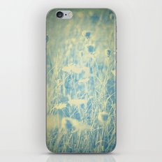 Old Ivory Lace and Worn Denim -- Duotone Wildflower Botanical iPhone & iPod Skin