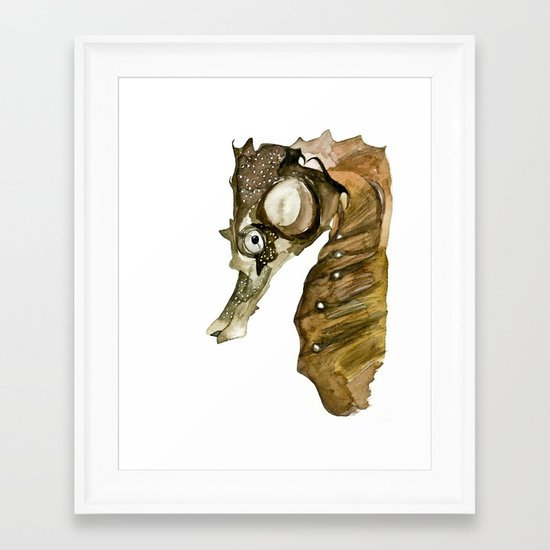 Ocean Treasures No.1 Seahorse Watercolor Framed Art Print