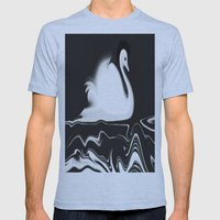 Swan Painting Mens Fitted Tee Athletic Blue SMALL