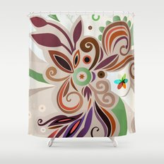 Floral curves Shower Curtain