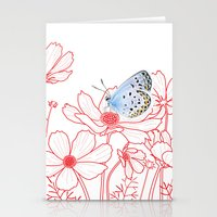 Cosmos and Butterfly Stationery Cards