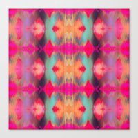 Watercolor Ikat Canvas Print