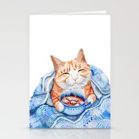 Happy Cat Drinking Hot Chocolate Stationery Cards