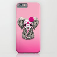 iPhone Cases featuring Pink Day of the Dead Sugar Skull Baby Elephant by Jeff Bartels