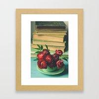 Books and Flowers Framed Art Print