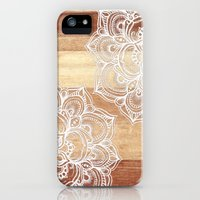 iPhone 5/5s Case featuring White doodles on blonde wood - neutral / nude colors by micklyn
