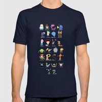 Animated characters abc Mens Fitted Tee Navy SMALL
