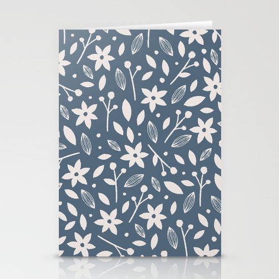 Winter Bloom - in Navy Stationery Card