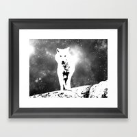 Walking on the moon Wolf Framed Art Print