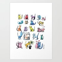 Family Cats In Color  Art Print