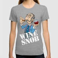 Wine Snob Womens Fitted Tee Tri-Grey SMALL