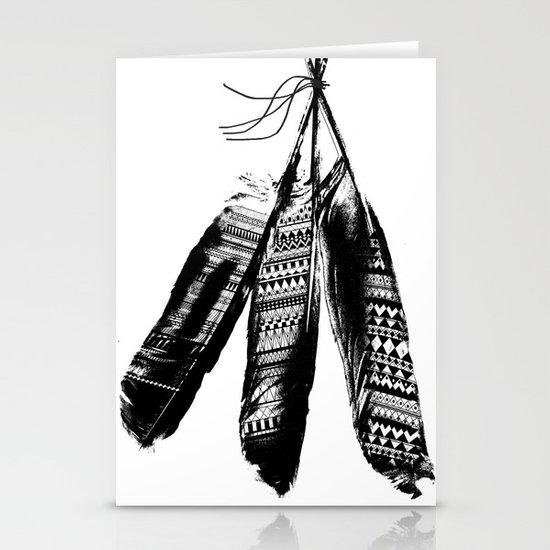 Tribal Feather Trio Stationery Card