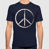 Peace In Peach Mens Fitted Tee Navy SMALL