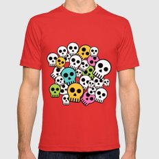 Colorful Skulls Mens Fitted Tee Red SMALL