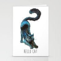 Black Blue Cat Stretchin… Stationery Cards