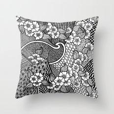 flowery zentangles Throw Pillow