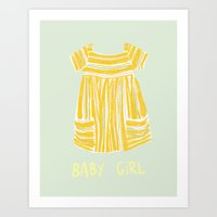 Baby girl Greeting birth card Art Print