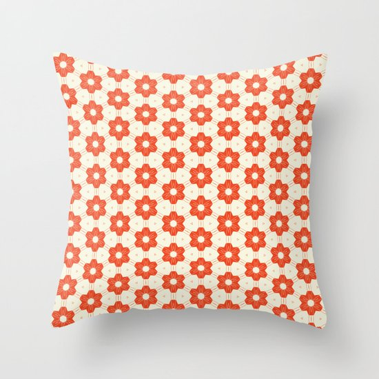 Retro Red Flower Throw Pillow
