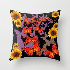 Decorative Black-Orange Butterflies Sunflower Pattern Art Throw Pillow