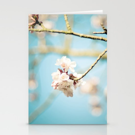 Cherry Blossom, Pink Flowers and Blue Sky. Stationery Card