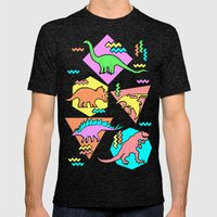 Nineties Dinosaur Patter… Mens Fitted Tee Tri-Black SMALL