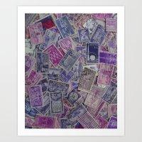 Vintage Postage Stamp Collection - Purple Art Print