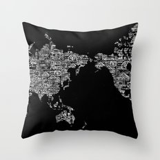 Passport Stamp Map Special Edition, Black and White Throw Pillow