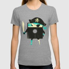 Software Pirate Womens Fitted Tee Tri-Grey SMALL
