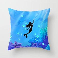 Beauty Mermaid Blue Sea Throw Pillow