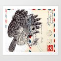 Bic Biro on vintage air mail envelope Art Print