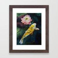 Koi And Lotus Flower Framed Art Print