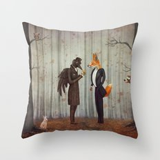 Raven and Fox in  a dark forest looking at the watch Throw Pillow