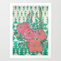 Triangles & Roses  Art Print