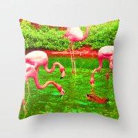 Flaming Flamingo Throw Pillow