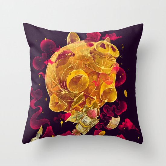 Piggy Boom Throw Pillow