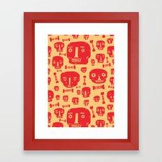 Skulls & Bones - Red/Yellow Framed Art Print