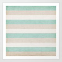 aqua and sand stripes Art Print