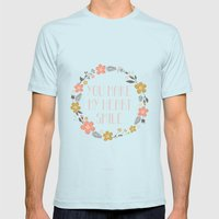 You Make My Heart Smile Mens Fitted Tee Light Blue SMALL