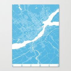 Quebec Map Blue Canvas Print