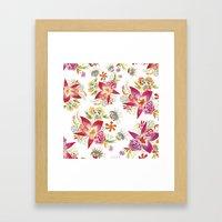 Tropical Flowers Watercolor Framed Art Print