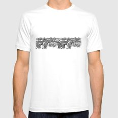 Zebra Print Mens Fitted Tee SMALL White