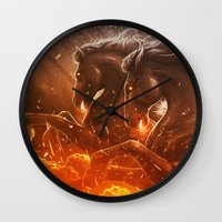 Fire with Horses Wall Clock