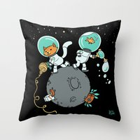 Space Kitty and Captain Fish Throw Pillow