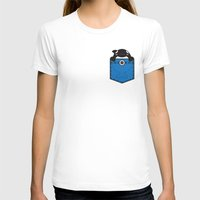 Pocket Whale Womens Fitted Tee White SMALL