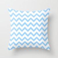 Funky Chevron Blue Patte… Throw Pillow